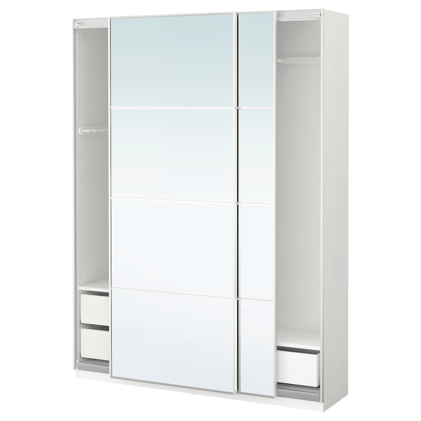 Pax Wardrobe White Auli Mirror Glass 150 X 44 X 201 Cm Ikea