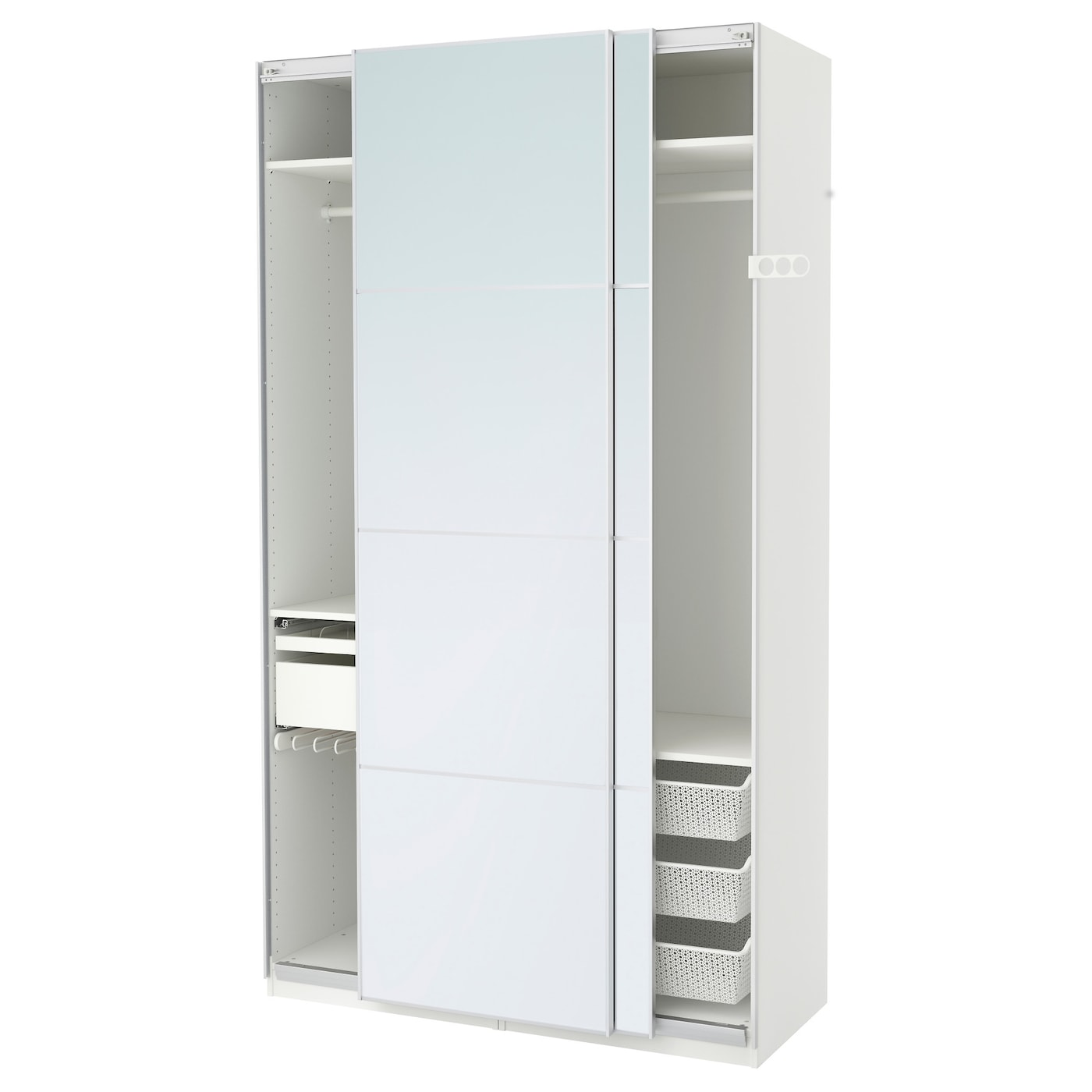 Pax wardrobe white auli mirror glass 150x66x236 cm ikea for Miroir 140 x 100