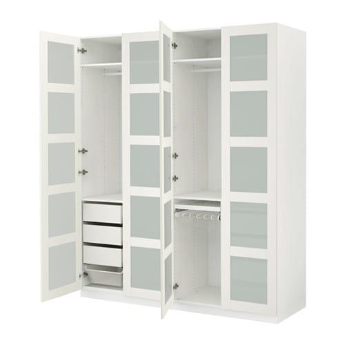 Kleiderschrank ikea pax  PAX Wardrobe White/bergsbo frosted glass 200x60x236 cm - IKEA
