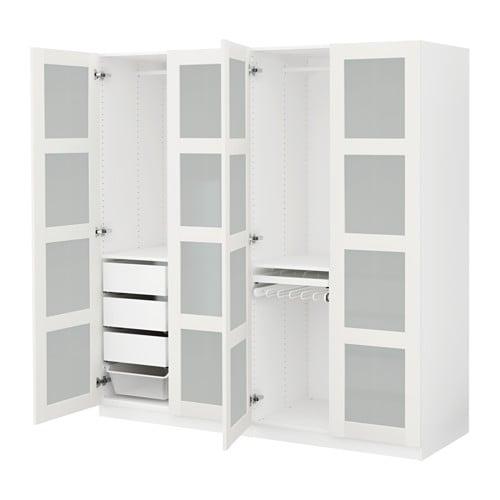 Ikea pax bergsbo frostglas  PAX Wardrobe White/bergsbo frosted glass 200x60x201 cm - IKEA