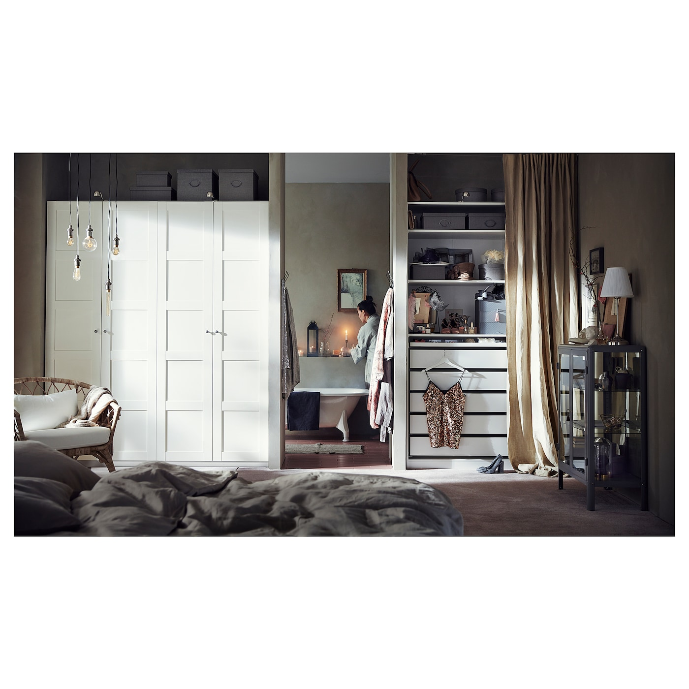 pax wardrobe white bergsbo white 200 x 60 x 236 cm ikea. Black Bedroom Furniture Sets. Home Design Ideas