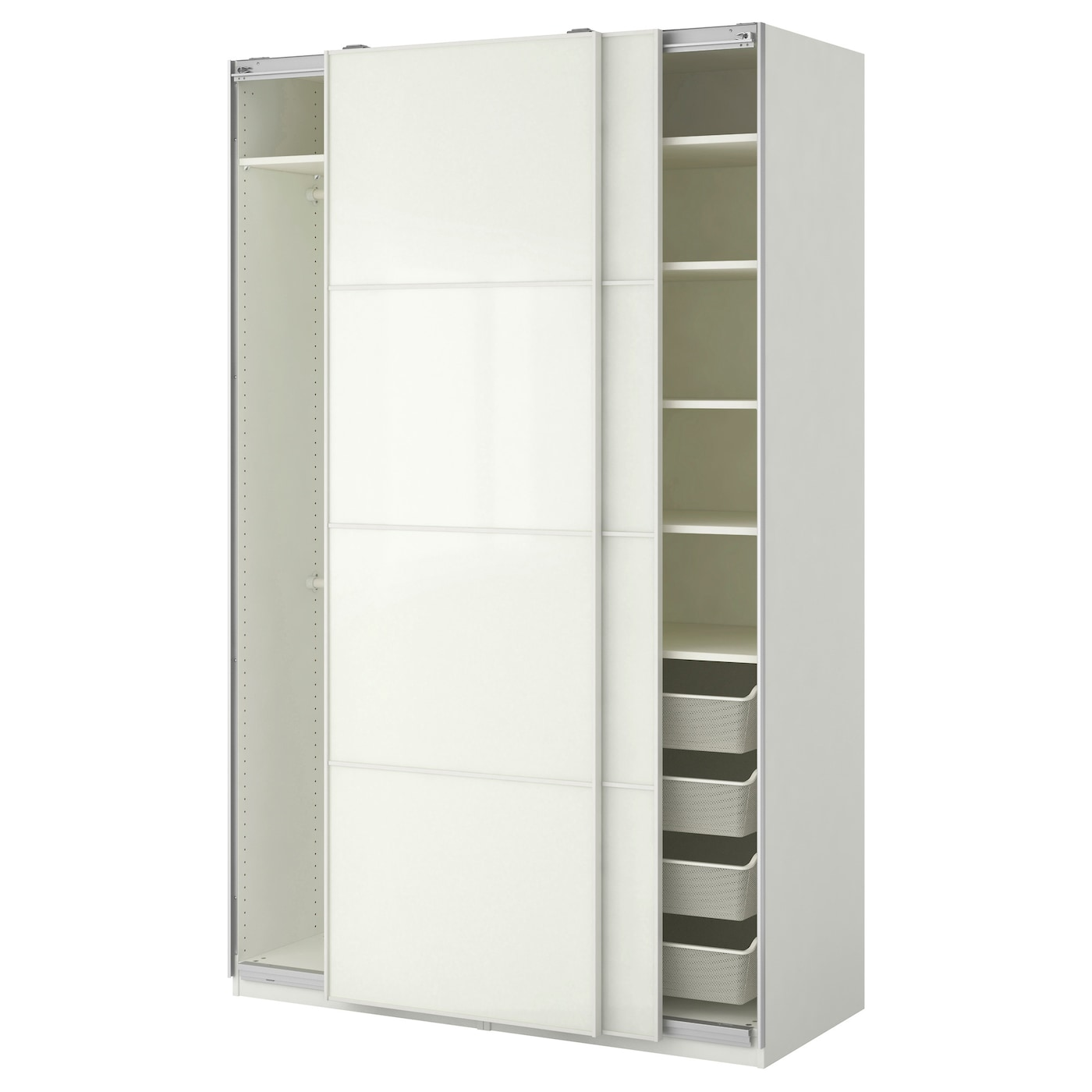 Pax wardrobe white f rvik white glass 150x66x236 cm ikea for Schrank 90 breit