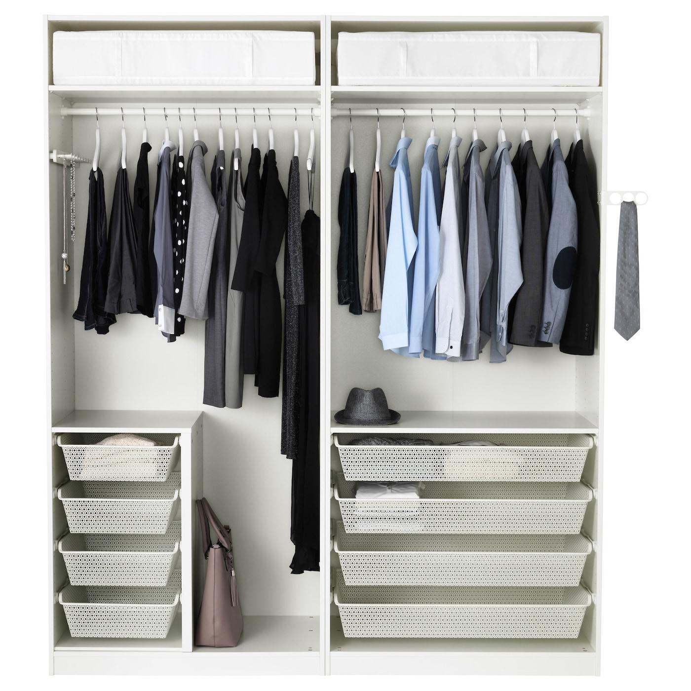 Pax wardrobe white fardal high gloss light grey 200x60x236 for Ikea pax schuhregal