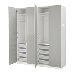 Pax wardrobe white fardal high gloss light grey 200x60x236 - Armoire metallique bureau ikea ...