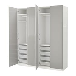 Pax wardrobe white fardal high gloss light grey 200x60x236 cm ikea - Armoire vestiaire metallique ...