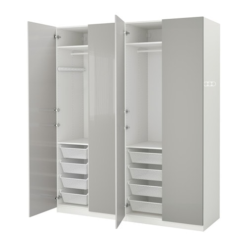 pax wardrobe white fardal high gloss light grey 200x60x236 cm ikea. Black Bedroom Furniture Sets. Home Design Ideas