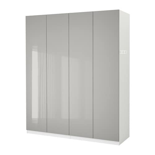 Pax Wardrobe White Fardal High Gloss Light Grey 200x60x236 Interiors Inside Ideas Interiors design about Everything [magnanprojects.com]