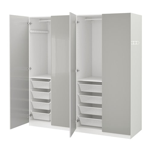 Pax Wardrobe White Fardal High Gloss Light Grey 200x60x201