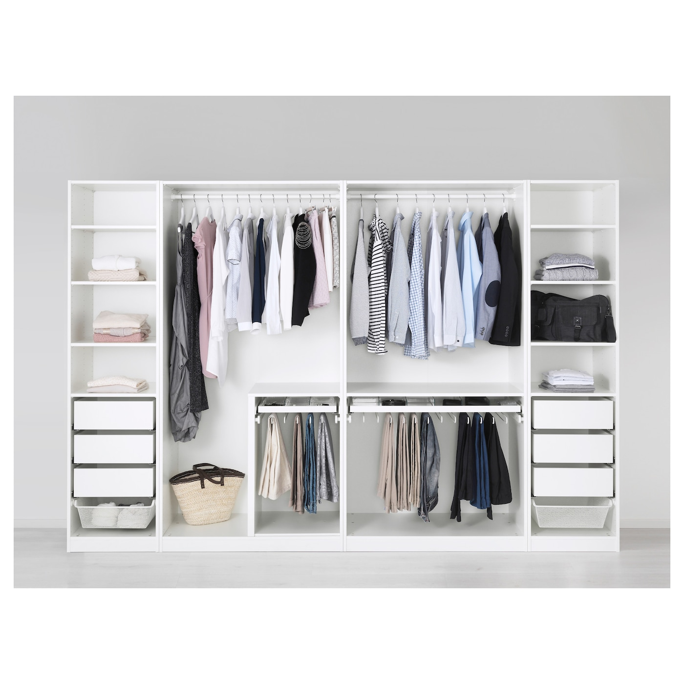 pax wardrobe white fardal high gloss white 300x60x201 cm. Black Bedroom Furniture Sets. Home Design Ideas