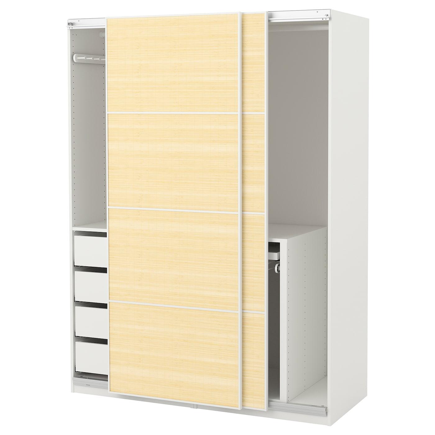 pax wardrobe white fjellhamar light bamboo 150 x 66 x 201 cm ikea. Black Bedroom Furniture Sets. Home Design Ideas