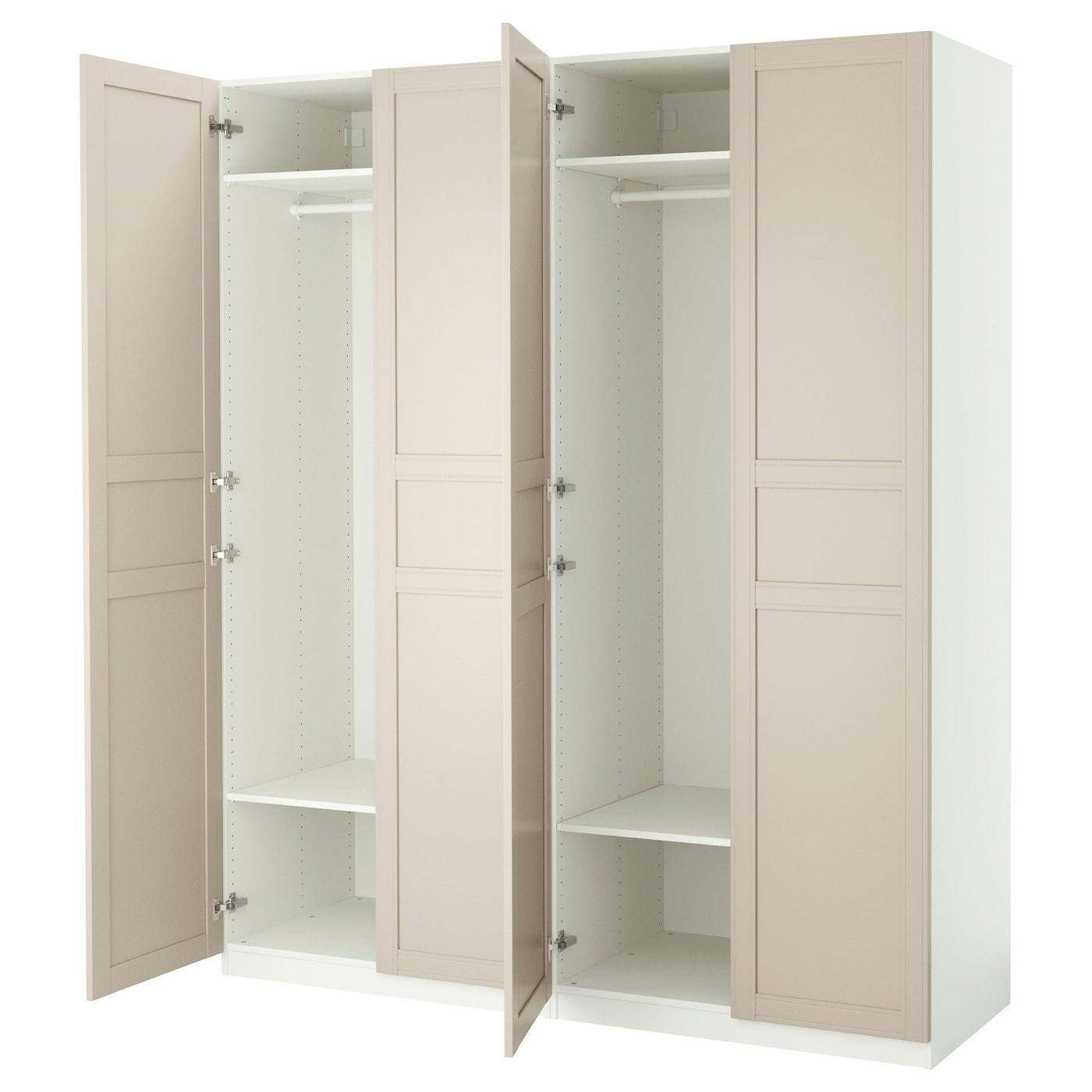 Pax wardrobe white flisberget light beige 200x60x236 cm ikea - Ikea dressing modulable ...