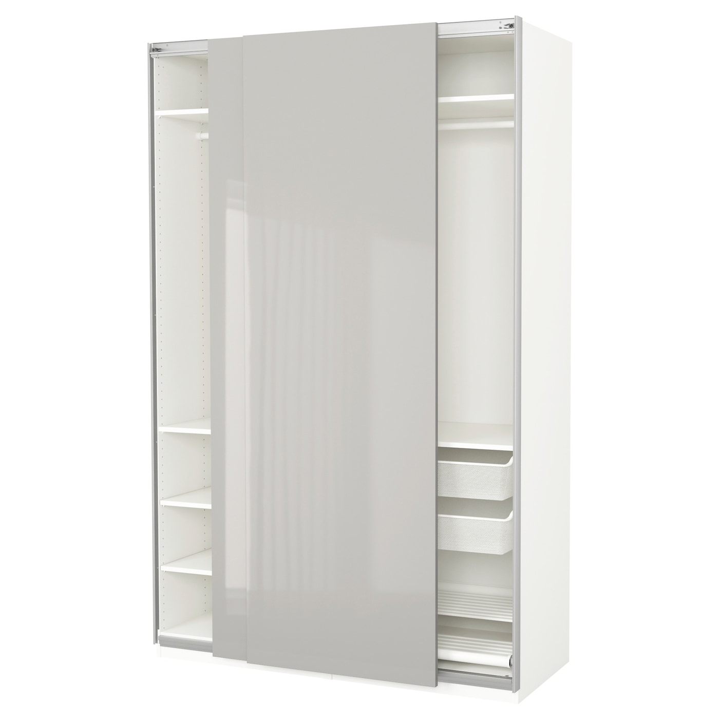 pax wardrobe white hasvik high gloss light grey 150x66x236 cm ikea. Black Bedroom Furniture Sets. Home Design Ideas