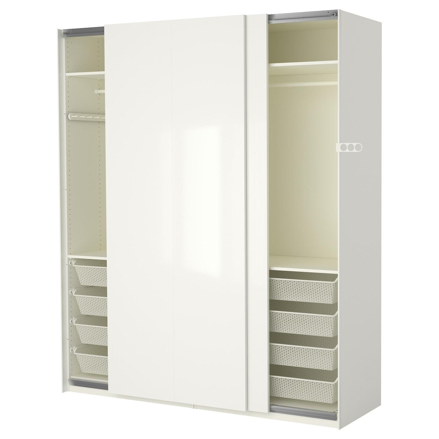 pax wardrobe white hasvik high gloss white 200x66x236 cm ikea. Black Bedroom Furniture Sets. Home Design Ideas