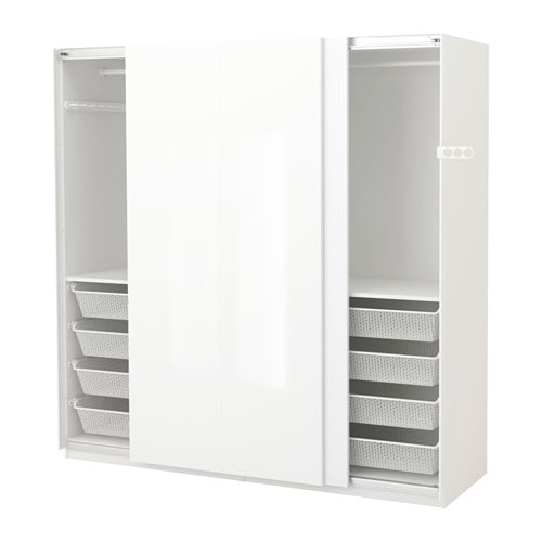 Pax Wardrobe White Hasvik High Gloss White 200x66x201 Cm