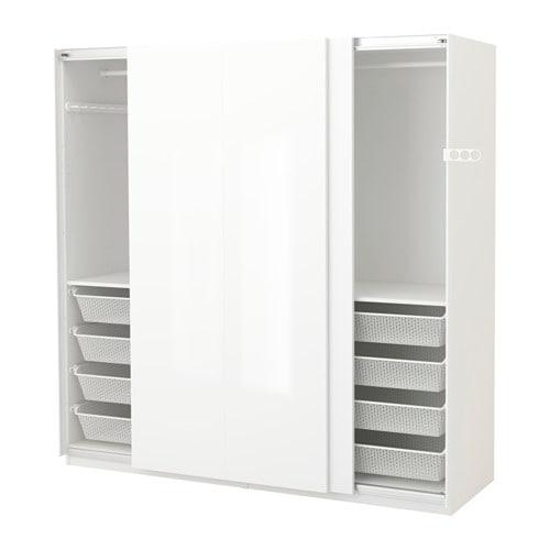 pax wardrobe white hasvik high gloss white 200x66x201 cm. Black Bedroom Furniture Sets. Home Design Ideas