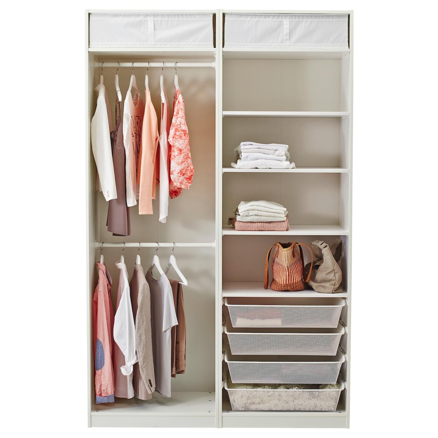 PAX Wardrobe White/hasvik white 150x66x236 cm - IKEA