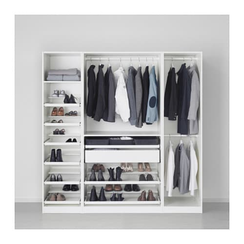 pax wardrobe white hemnes white stain 200x60x201 cm ikea. Black Bedroom Furniture Sets. Home Design Ideas