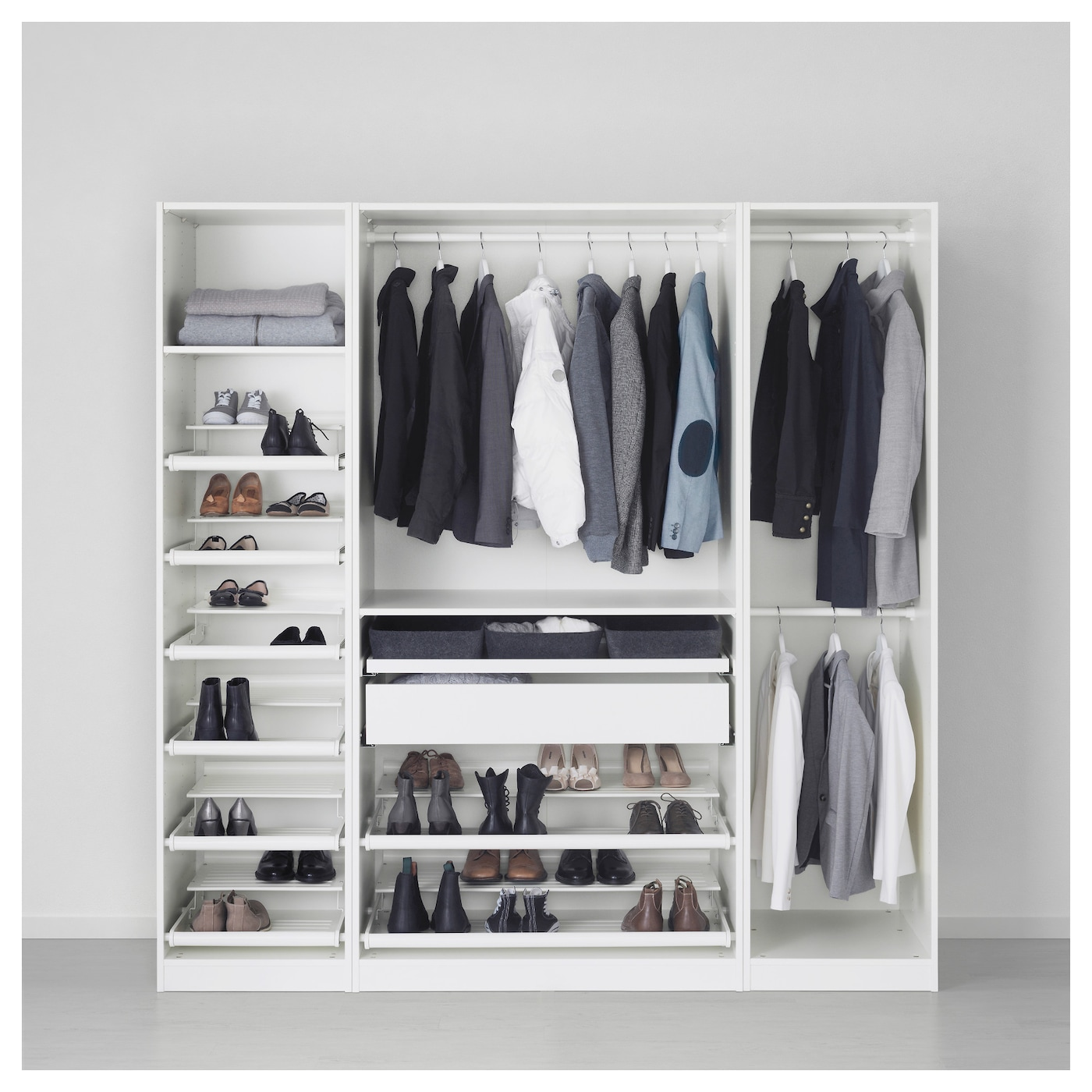 pax wardrobe white hemnes white stain 200x60x201 cm ikea. Black Bedroom Furniture Sets. Home Design Ideas
