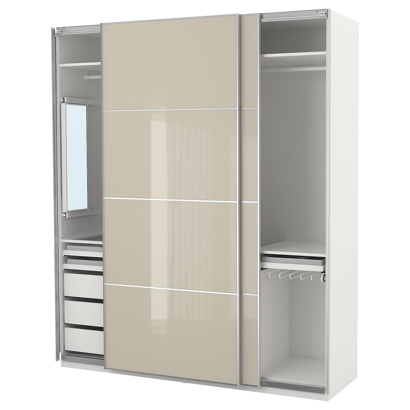 pax wardrobe white hokksund high gloss light beige 200 x 66 x 236 cm ikea. Black Bedroom Furniture Sets. Home Design Ideas