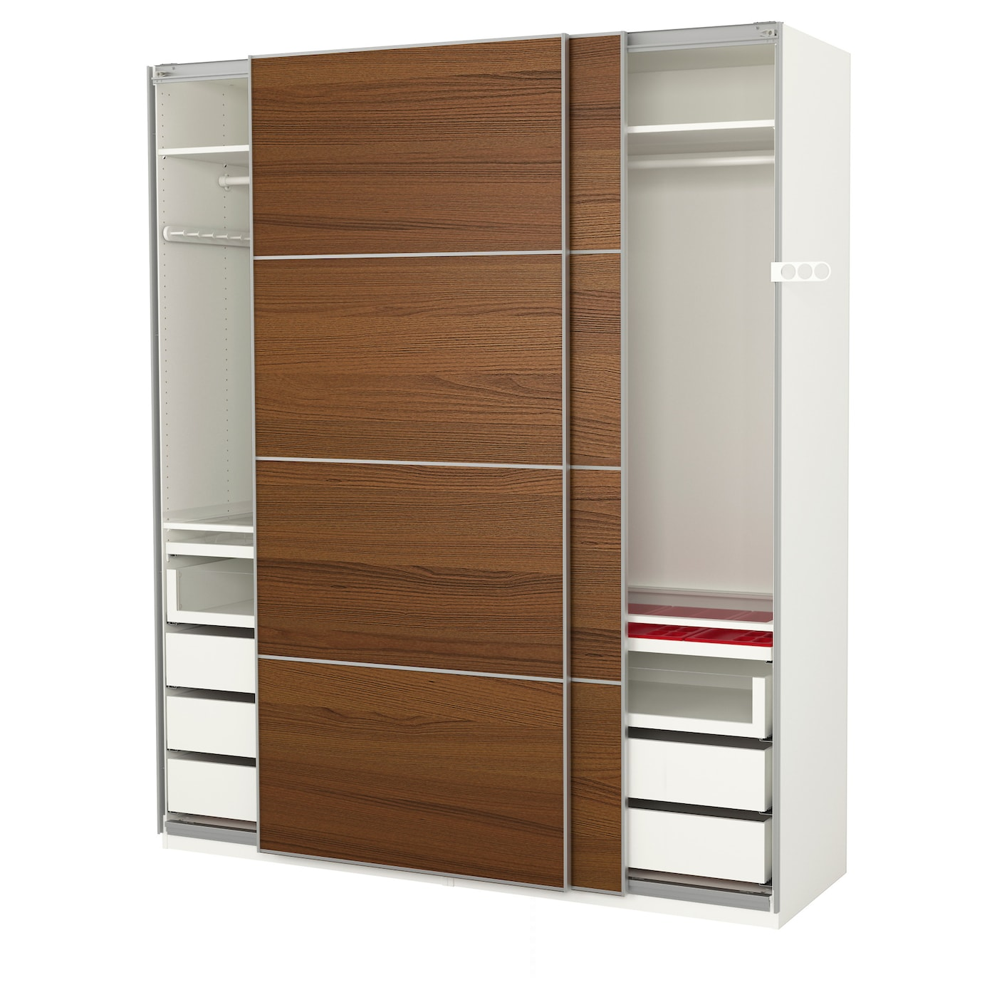 Pax wardrobe white ilseng brown stained ash veneer 200x66x236 cm ikea - Ikea armoire 3 portes ...