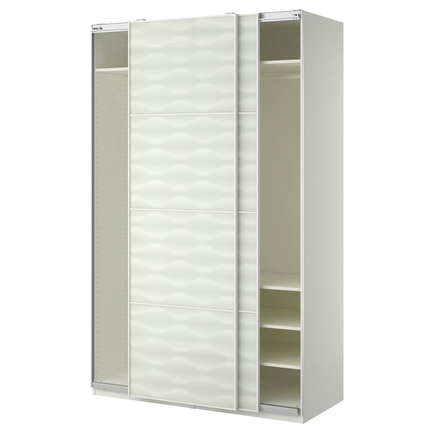 pax wardrobe white innfjorden white glass 150x66x236 cm ikea. Black Bedroom Furniture Sets. Home Design Ideas