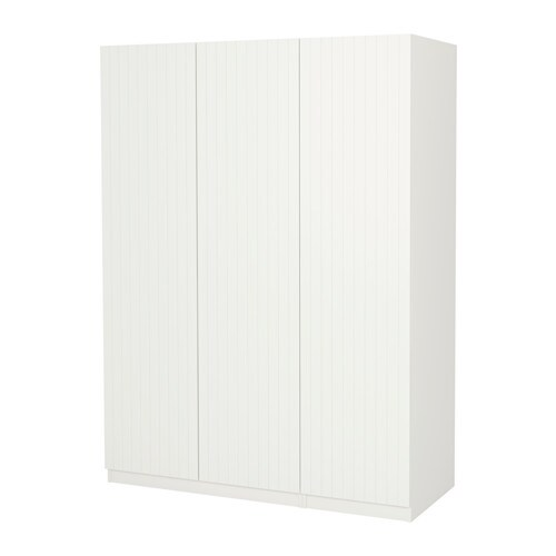 Pax Wardrobe White Marnardal Striped White Beige