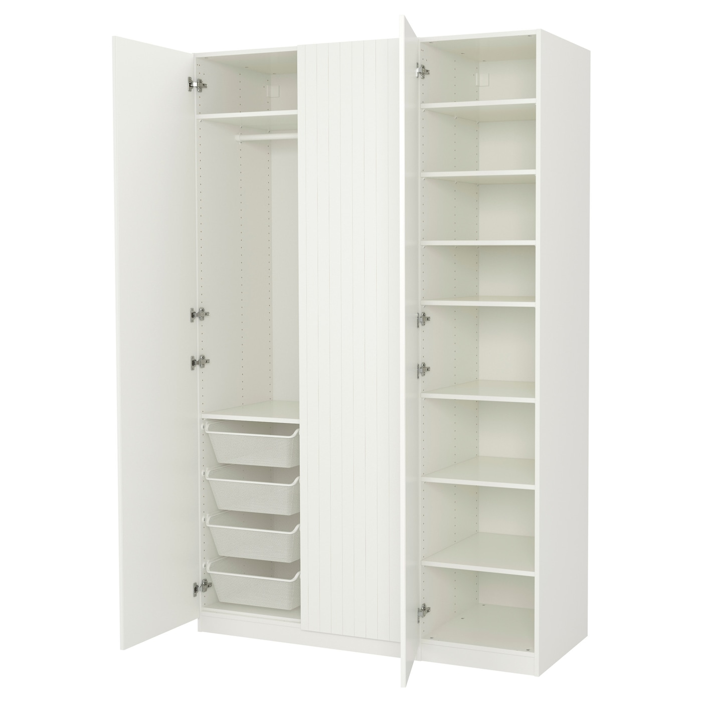 Pax wardrobe white marnardal striped white beige 150x60x236 cm ikea - Rangement dressing ikea ...