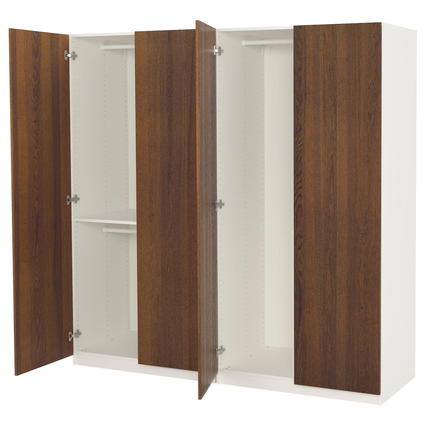 pax wardrobe white nexus brown stained ash veneer 200x60x201 cm ikea. Black Bedroom Furniture Sets. Home Design Ideas