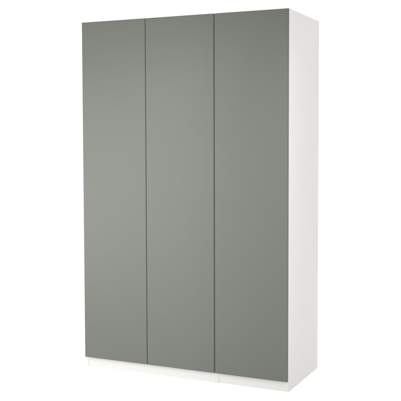 Pax Wardrobe White Reinsvoll Grey Green 150 X 60 X 236 Cm