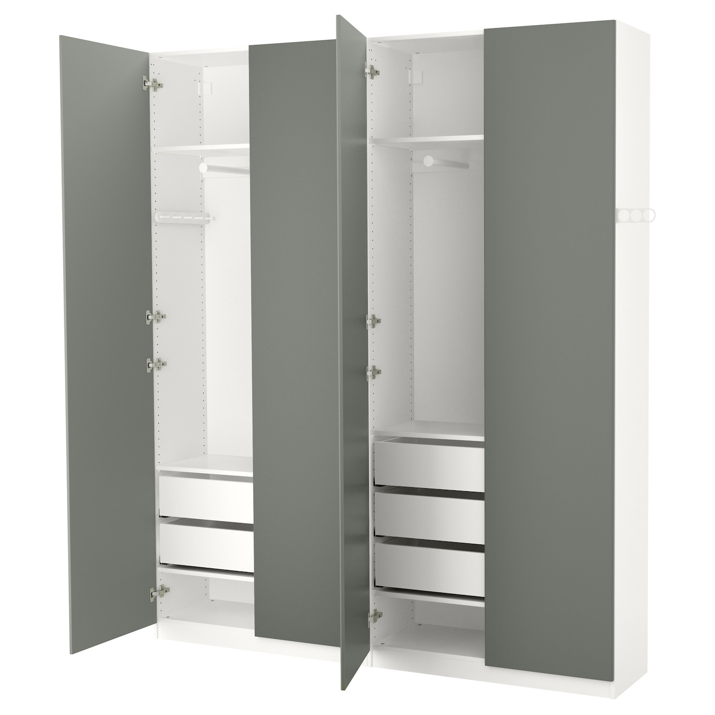 pax wardrobe white reinsvoll grey green 200x38x236 cm ikea. Black Bedroom Furniture Sets. Home Design Ideas