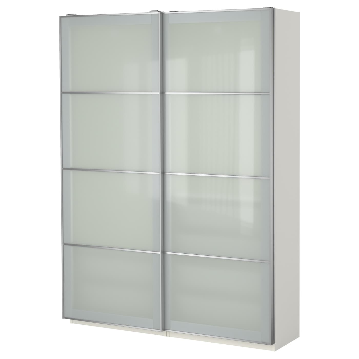pax wardrobe white sekken frosted glass 150x44x201 cm ikea. Black Bedroom Furniture Sets. Home Design Ideas