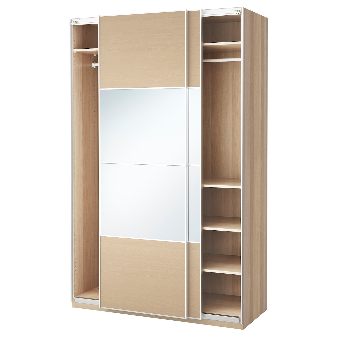 Pax wardrobe white stained oak effect auli ilseng 150x66x236 cm ikea - Armoire japonaise ikea ...