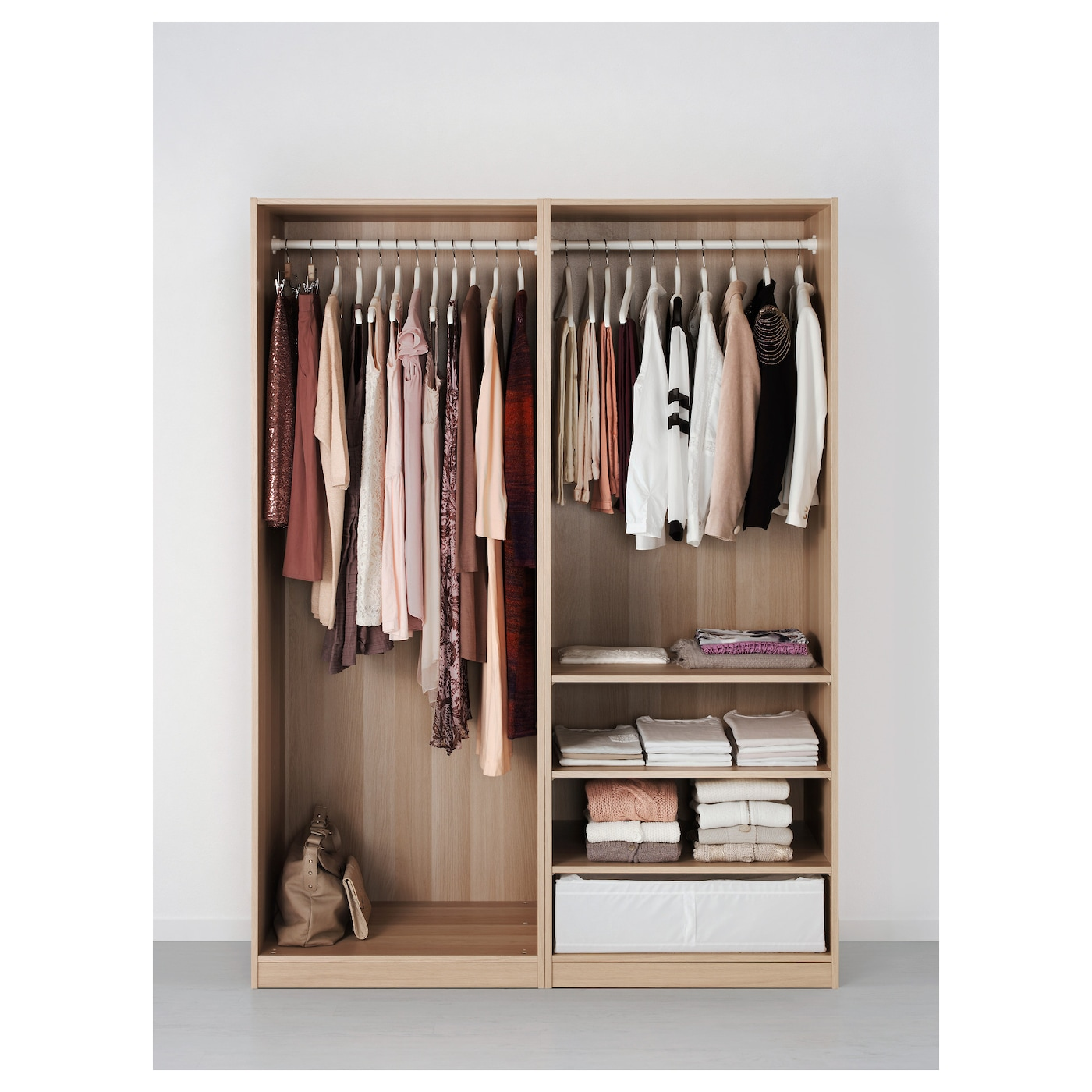 pax wardrobe white stained oak effect auli ilseng 150 x 66 x 201 cm ikea. Black Bedroom Furniture Sets. Home Design Ideas