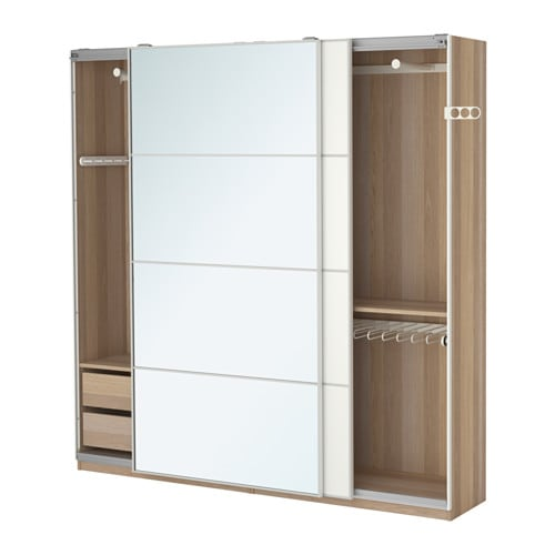 PAX Wardrobe White stained oak effect auli mehamn 200x44x201 cm IKEA