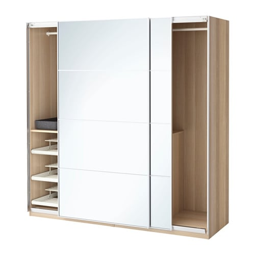 PAX Wardrobe White Stained Oak Effectauli Mirror Glass