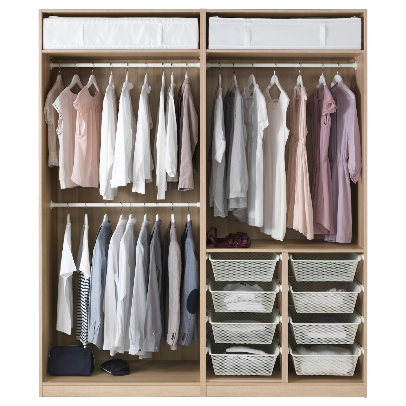 PAX Wardrobe White Stained Oak Effect/auli Sekken 200 X 66