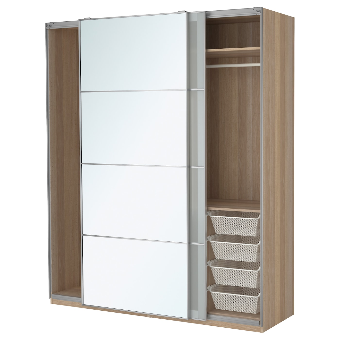 Pax wardrobe white stained oak effect auli sekken for Armoire porte coulissante miroir ikea