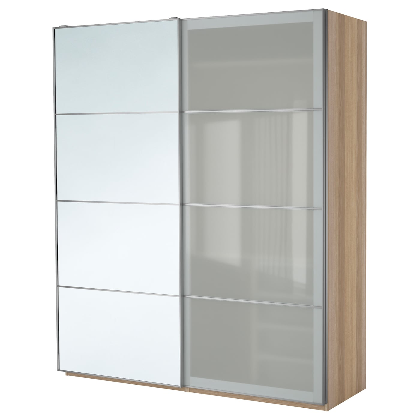 pax wardrobe white stained oak effect auli sekken 200x66x236 cm ikea. Black Bedroom Furniture Sets. Home Design Ideas