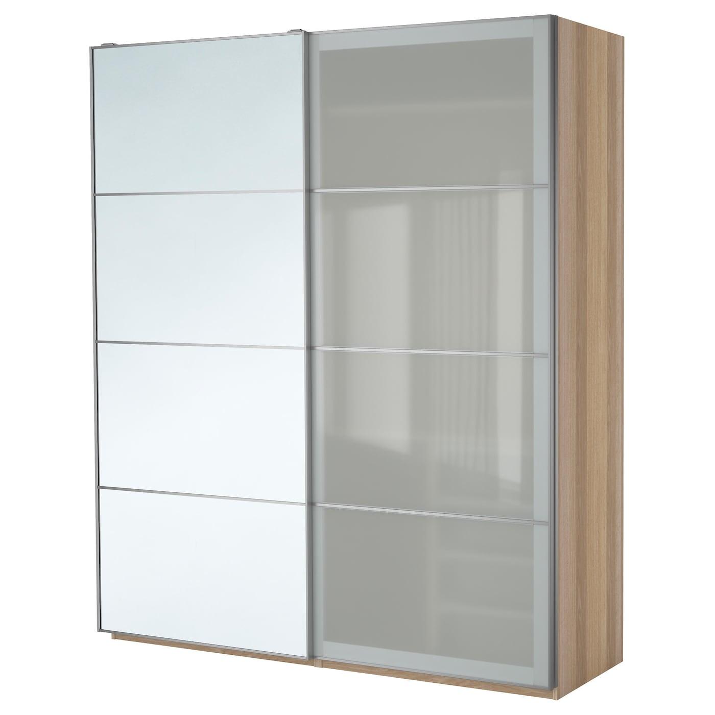 pax wardrobe white stained oak effect auli sekken 200 x 66. Black Bedroom Furniture Sets. Home Design Ideas