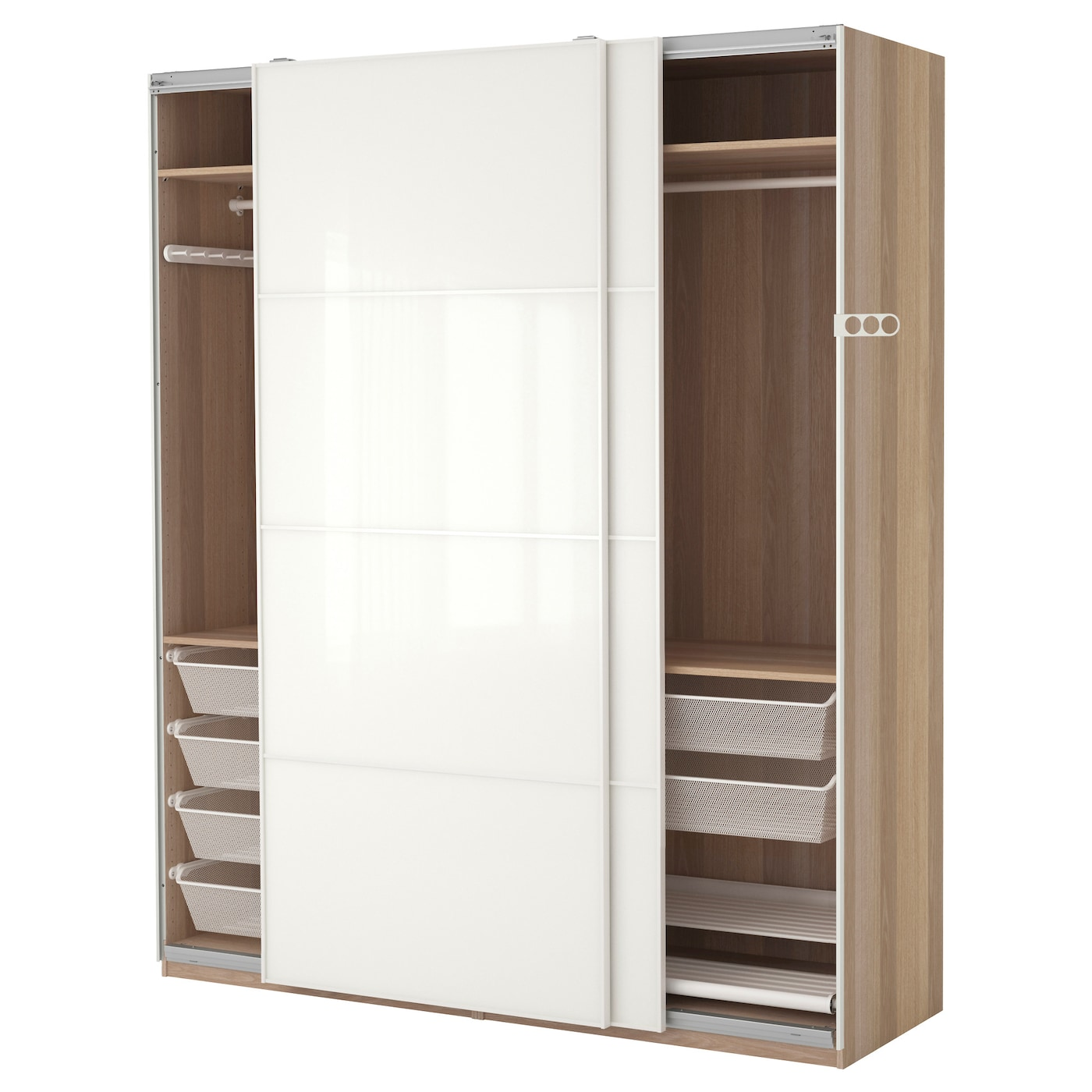 pax wardrobe white stained oak effect f rvik white glass. Black Bedroom Furniture Sets. Home Design Ideas
