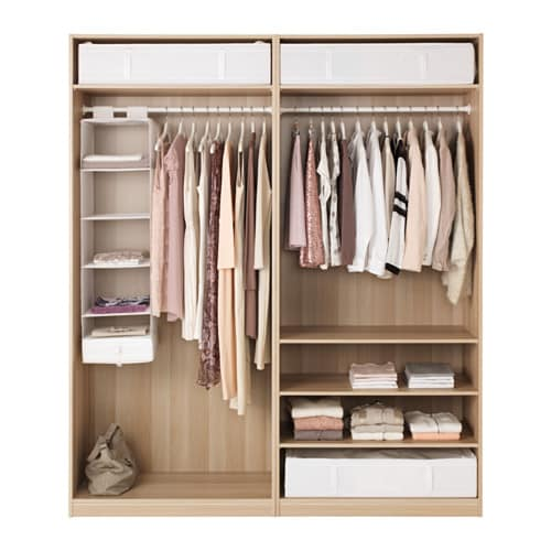 Pax wardrobe white stained oak effect ilseng white stained oak veneer 200x66x - Armoire penderie ikea pax ...