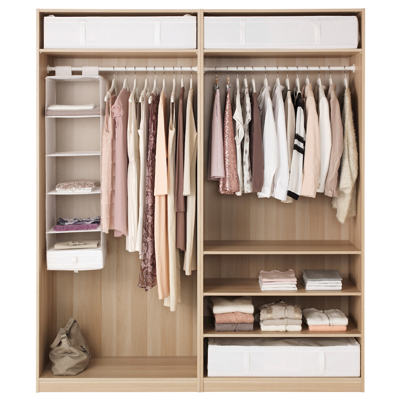 pax wardrobe white stained oak effect ilseng white stained oak veneer 200x66x236 cm ikea. Black Bedroom Furniture Sets. Home Design Ideas