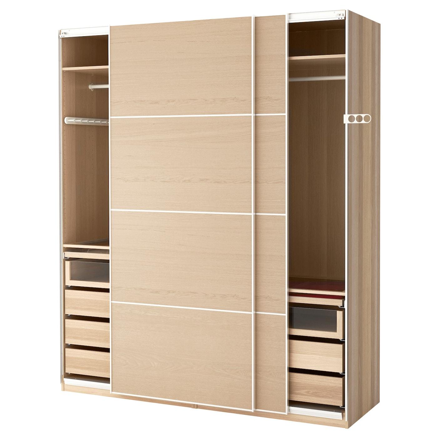 pax wardrobe white stained oak effect ilseng white stained oak veneer 200x66x236 cm ikea. Black Bedroom Furniture Sets. Home Design Ideas