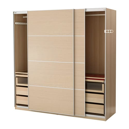 Pax wardrobe white stained oak effect ilseng white stained for 1 door wardrobe with shelves