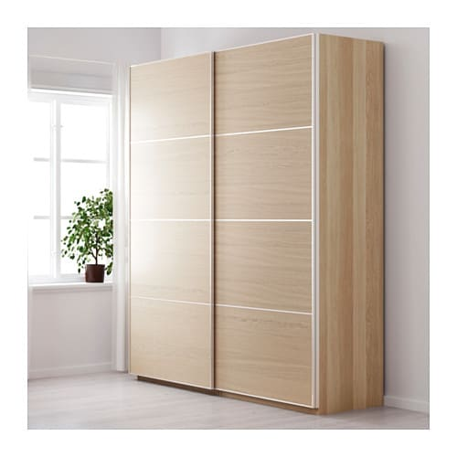 Pax wardrobe white stained oak effect ilseng white stained for Chene blanchi ikea