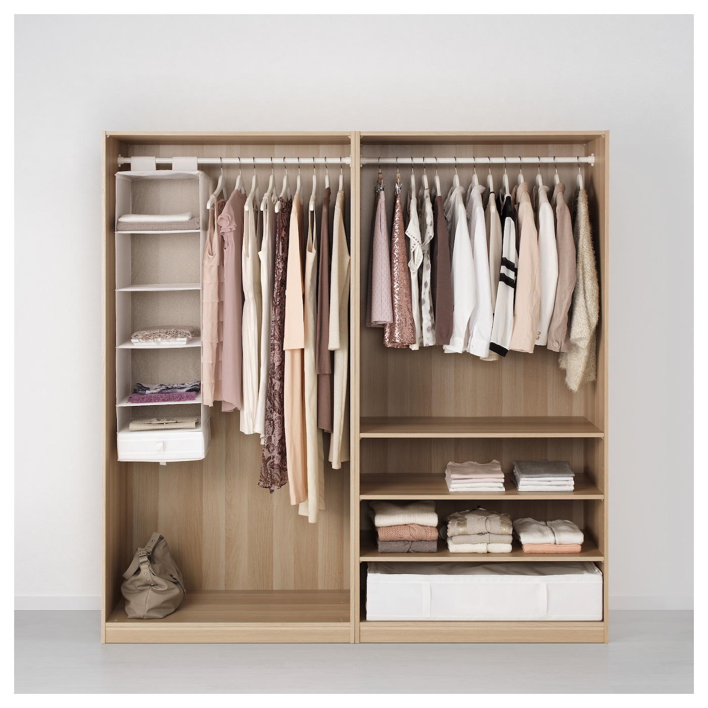 pax wardrobe white stained oak effect ilseng white stained oak veneer 200x66x201 cm ikea. Black Bedroom Furniture Sets. Home Design Ideas