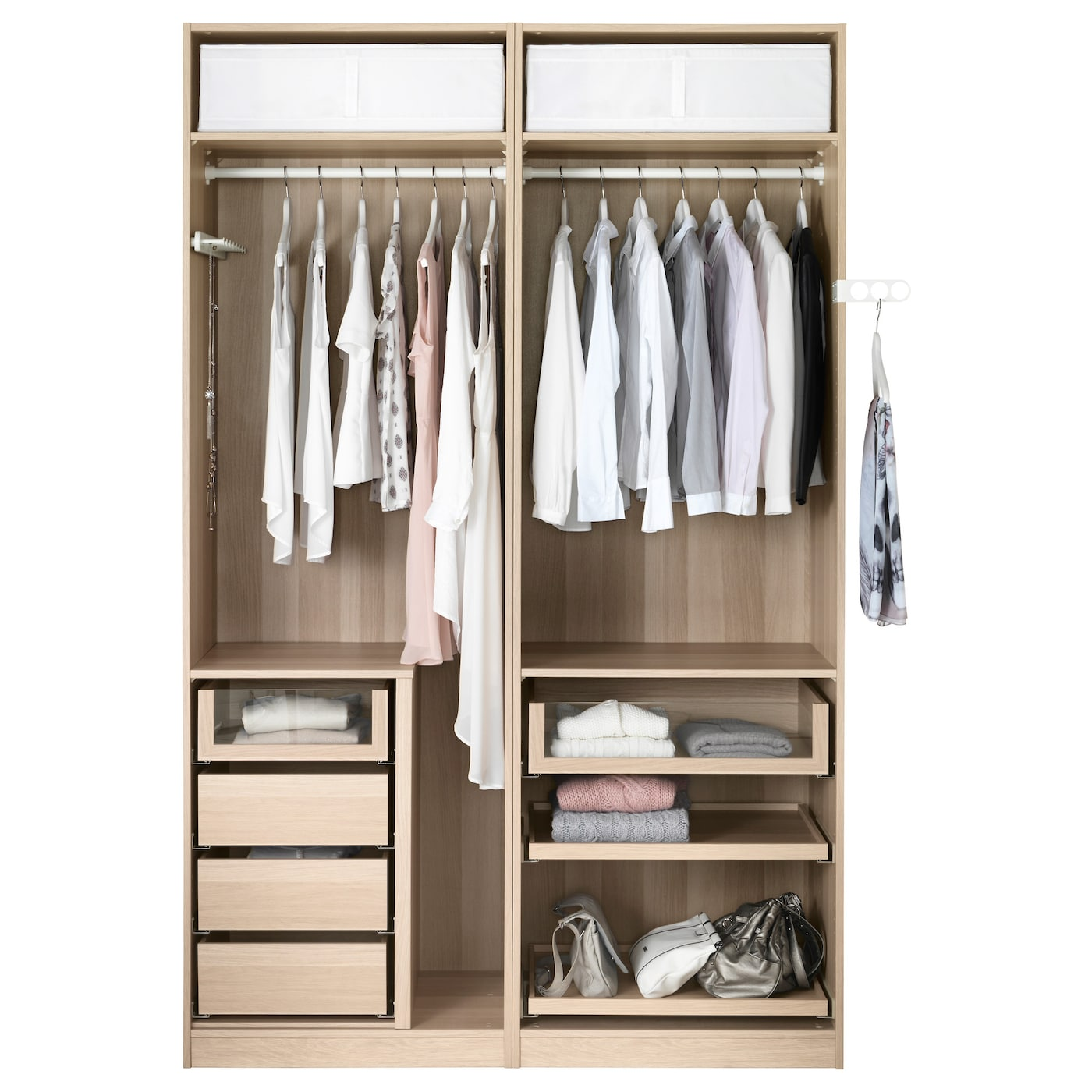 Pax wardrobe white stained oak effect mehamn white 150x66x236 cm ikea - Accessoire dressing ikea ...
