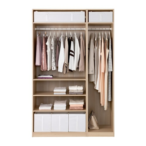 pax wardrobe white stained oak effect mer ker grey 150x60x236 cm ikea. Black Bedroom Furniture Sets. Home Design Ideas