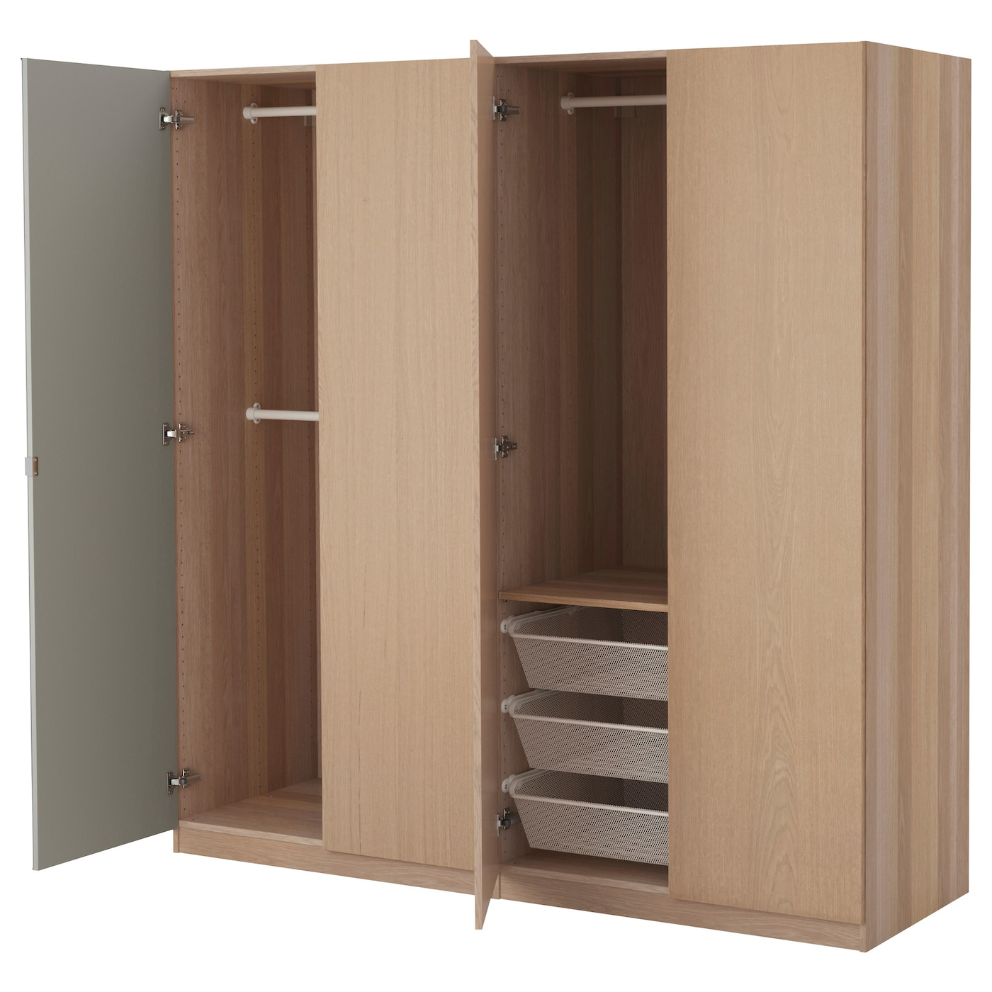 pax wardrobe white stained oak effect nexus vikedal 200x60x201 cm ikea. Black Bedroom Furniture Sets. Home Design Ideas