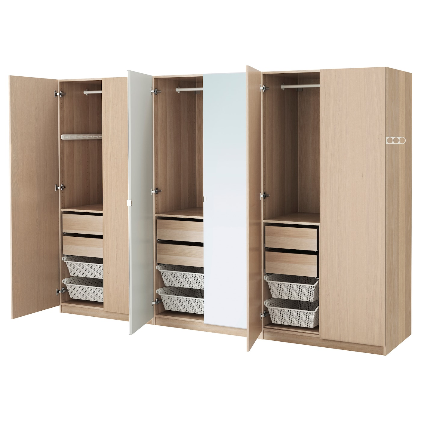 PAX Wardrobe White stained oak effect nexus vikedal 300x60x201 cm  IKEA